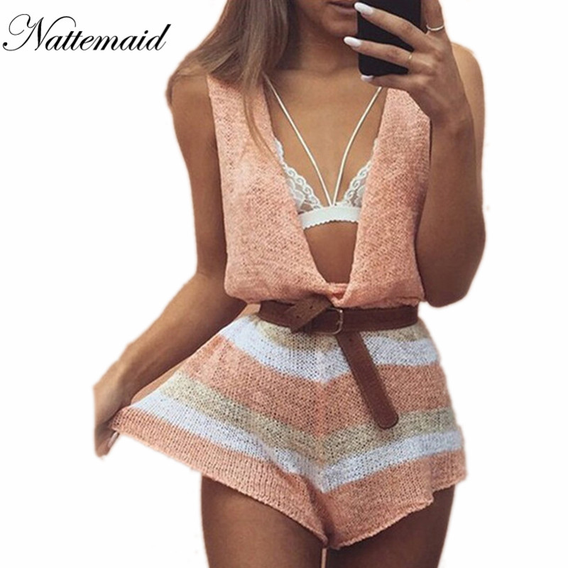 5ac991334a0 NATTEMAID 2017 Spring Summer knitted jumpsuits women rompers Drop v neck  loose short jumpsuit Female sleeveless