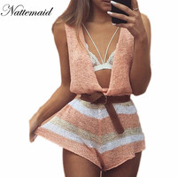 2016 Spring Summer Knitted Jumpsuits Women Rompers Drop V Neck Loose Short Jumpsuit Female Sleeveless Novel