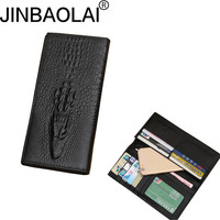 JINBAOLAI Men Wallets Genuine Leather Crocodile Pattern Wallet Long Multifunctiona Purses First Layer Cowhide Coin Purse