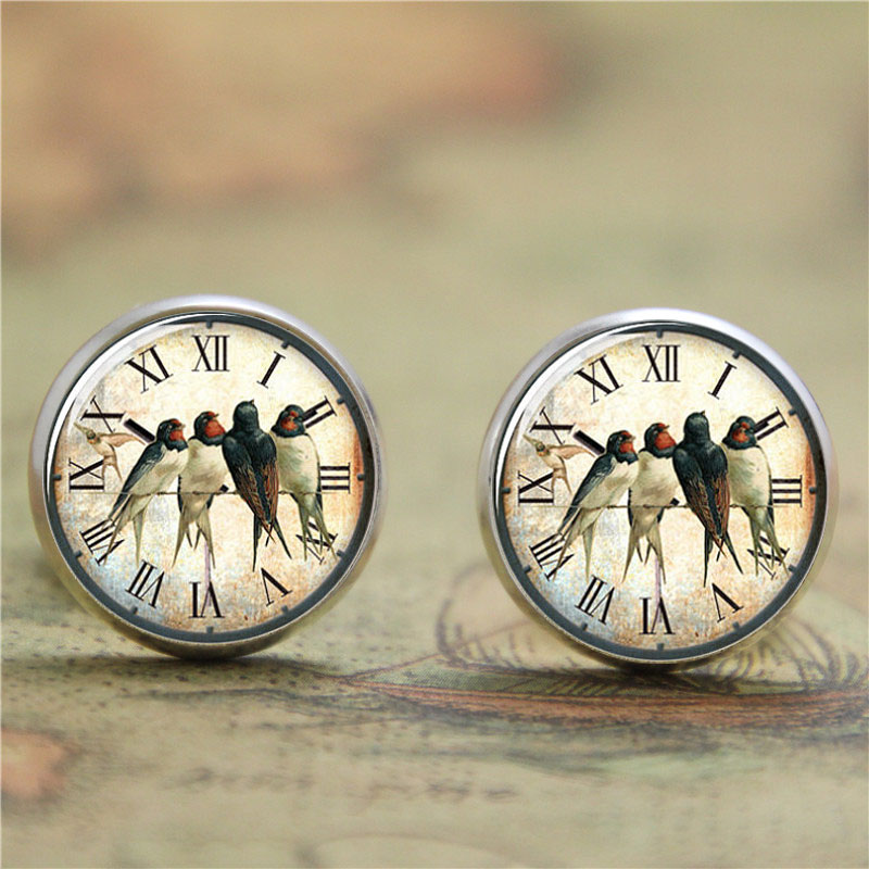 10pairs/lot swallow earring,Vintage Bird on the clock Art Print  earring Jesus Photo Victorian earring
