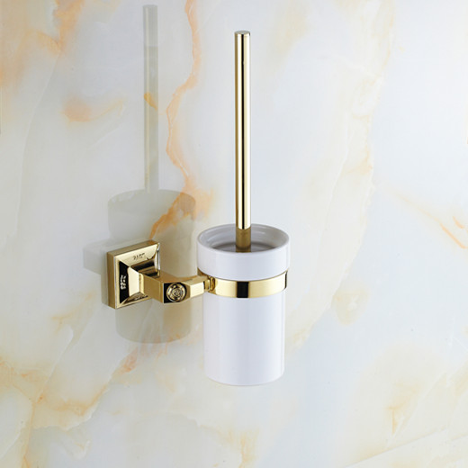 Luxury Golden LOVE Brass toilet brush holder with Ceramic cup/ household products bath brush decoration bathroom accessories heavy bullet head bobbin holder with ceramic tube tip protecting lines brass copper material