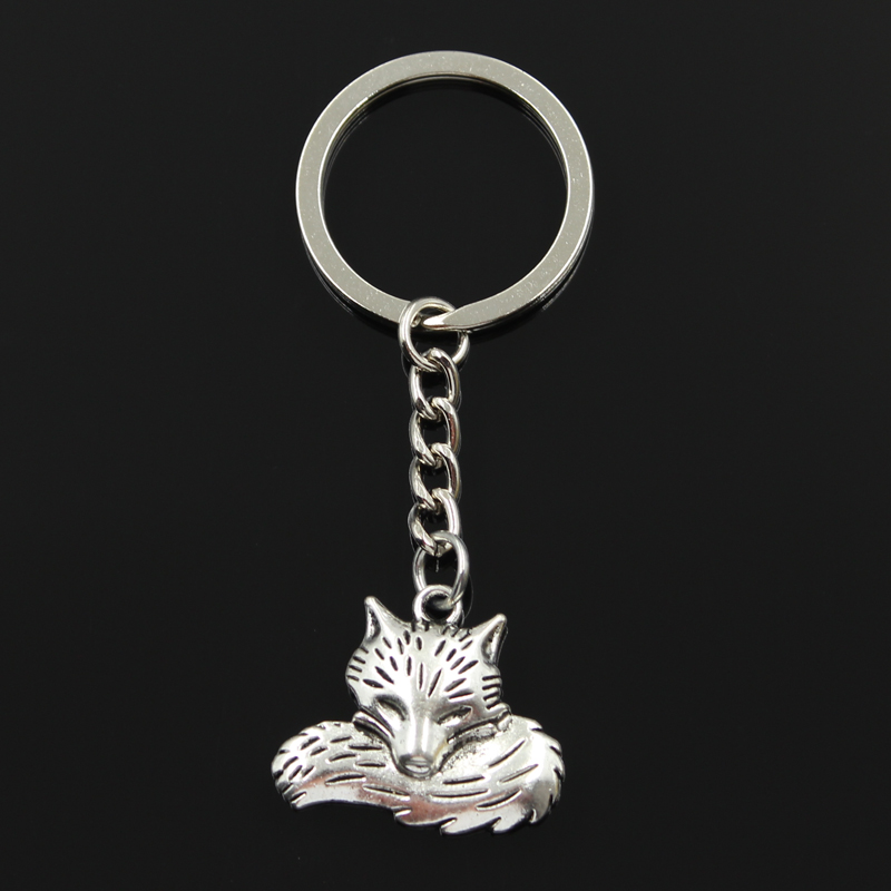 New Fashion Keychain 24x28mm Wolf Tail Fox Pendants DIY Men Jewelry Car Key Chain Ring Holder Souvenir For Gift