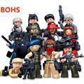 12 unids BOHS Segunda Guerra Mundial Ejército Aliado Figuras Militares y de La Policía de Gangsters Muñeca Bloques de Construcción de Juguete