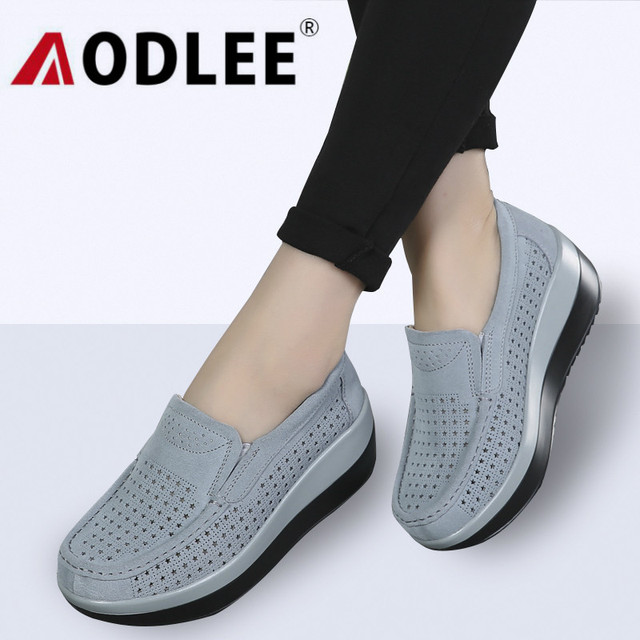 AODLEE Shoes Woman Spring Women Platform Loafers Ladies Shoes Cow Leather Hollow Shoes Women Flats Oxford Moccasins Creepers