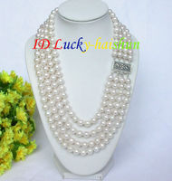 Selling Jewelry>>>Genuine 16 4row 9mm round white pearls necklace 925 silver clasp j7915