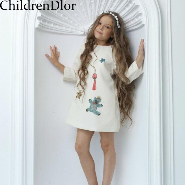 Toddler Girl Clothing 2017 Brand Girls Party Dresses with Long Sleeve Kids Dresses for Girls Clothes Children Dress