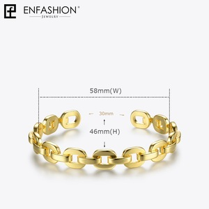 Image 4 - Enfashion Pure Form Small Link Chain Cuff Bracelets Gold Color Brass Bangles For Women Accessories Jewelry Bijoux BF182032