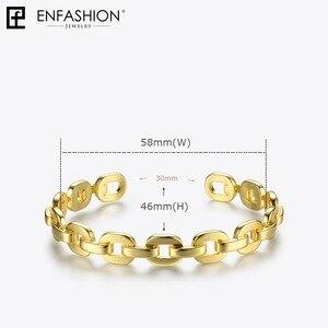 Image 4 - Enfashion Zuivere Vorm Kleine Link Chain Manchet Armbanden Gouden Kleur Messing Armbanden Voor Vrouwen Accessoires Sieraden Bijoux BF182032