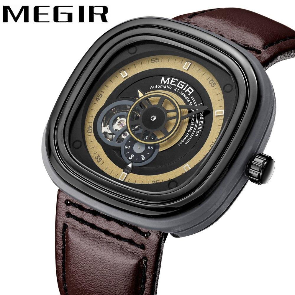 MEGIR топ бренда Luxury Auto Механические часы Для мужчин Творческий Скелет циферблат ремень из натуральной кожи модные наручные часы для парня 2018