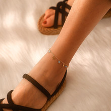 Cute Star Sequins Anklets Bracelets For Female Geometric Blue Crystal Pendant Girl Wedding Jewelry