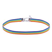 Mężczyźni kobiety Gay Pride Rainbow Choker naszyjnik LGBT Gay i lesbijki duma koronki Chocker kołnierz ze wstążką z wisiorek biżuteria TCN702 tanie tanio Moda Naszyjniki Łańcuch liny MDNEN TRENDY GEOMETRIC Chokers naszyjniki Metal Ze stopu cynku 1pcs Mixed Color 30+7cm 1cm 1 5cm