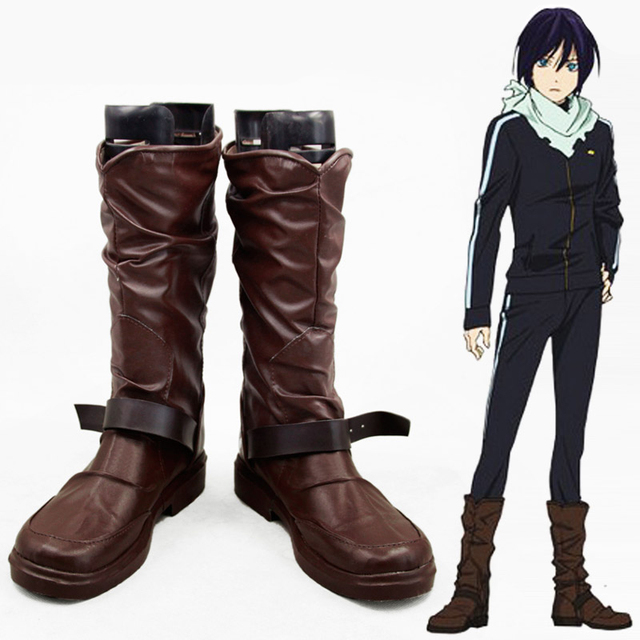 Anime Noragami Yato Cosplay Shoes Men Women Leather Boots Custom Size Free Shipping