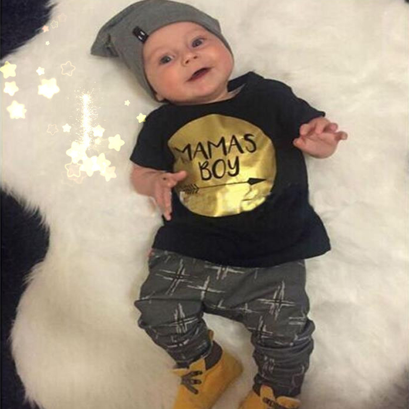 2017 New Summer Baby Boy Clothes Set Cotton Letter Boss Printed