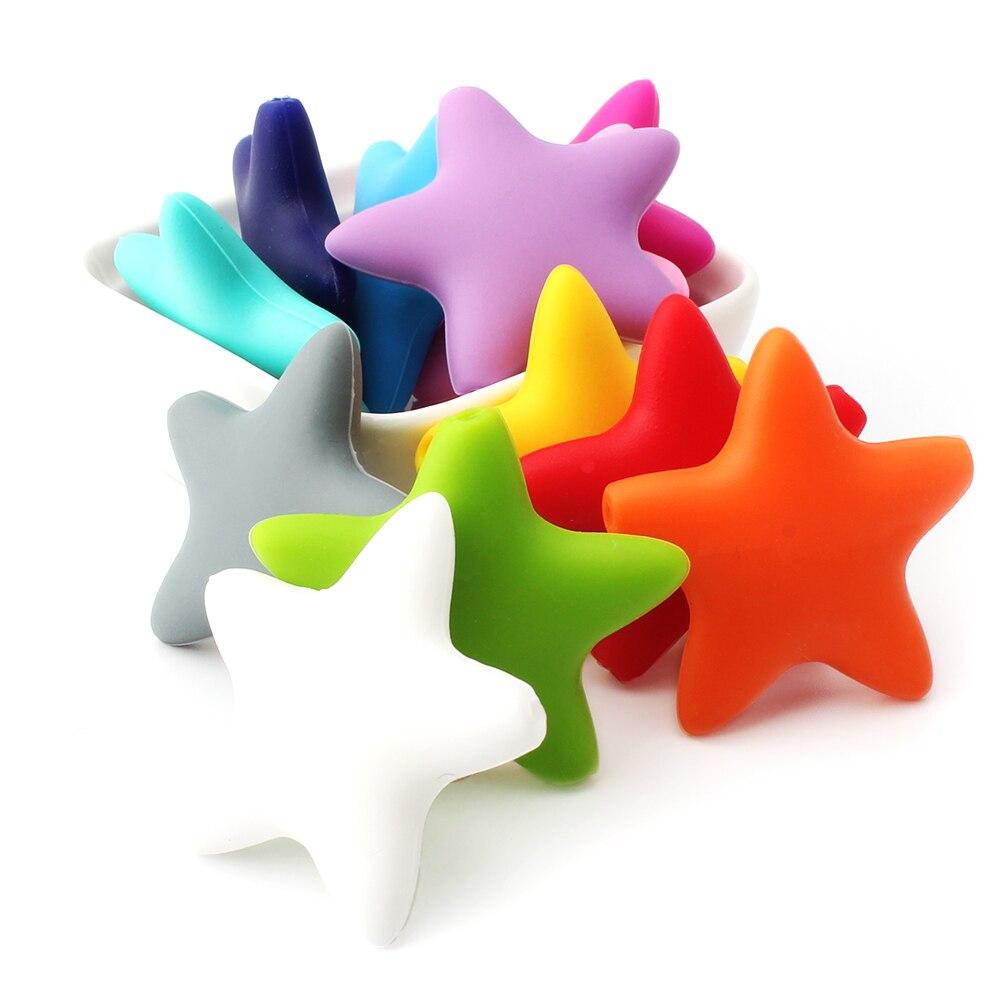 KEEP&GROW 30Pcs Star Silicone Beads Food Grade Baby Teething Beads Chewable BPA Free Baby Teethers Nursing Pacifier Pendant