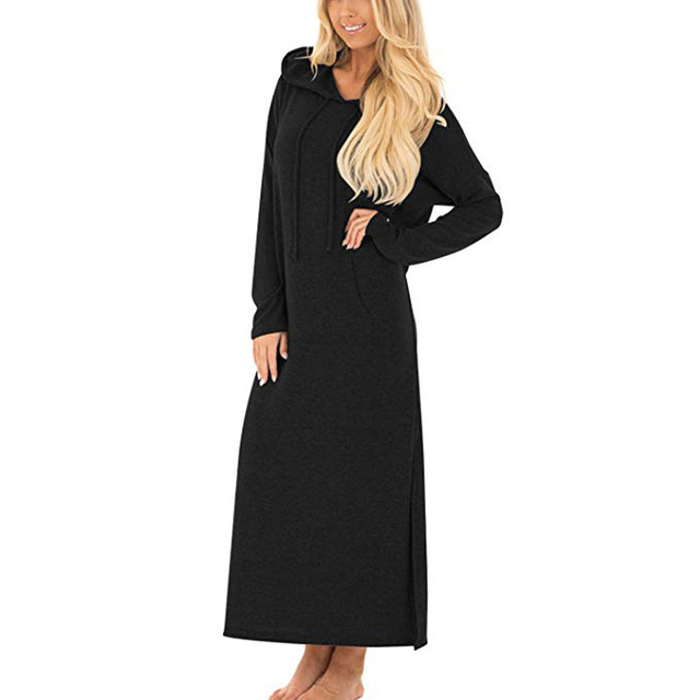 New Womens Casual Pockets Dresses Long Sleeve Split Hooded Solid Long Maxi Autumn Dress Sports Fashion Womens shirt dress S!A70