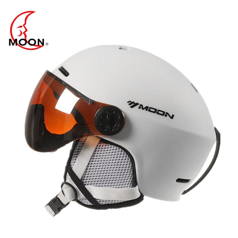 ムーンゴーグルスキーヘルメット一体成形 Pc + EPS カラフルなスキーヘルメットアウトドアスポーツスキースノーボードスケートボードヘルメット  グループ上の スポーツ & エンターテイメント からの スキー ヘルメット の中 1
