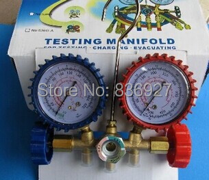 R22 R12 R134 A/C Manifold high and low  pressure gauge three pipes with imperial adapter refrigerator parts r134a single refrigeration pressure gauge code 1503 including high and low