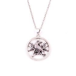 Necklace For Women Men Religious Animal Raven With Mythical Pentacle Amulet Differernt Chain Choose Zinc Alloy Dropshipping