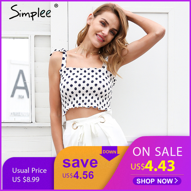 fa2d66b32b Simplee Casual elastic tie up straps crop top women Stretch ruffle bow  print sexy camis tops 2018 summer beach dot tank femme