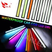 1x14cm 100% Waterproof  20W COB Chip LED Daytime Running Light LED DIY DRL Fog car lights car day running lights15% Discount