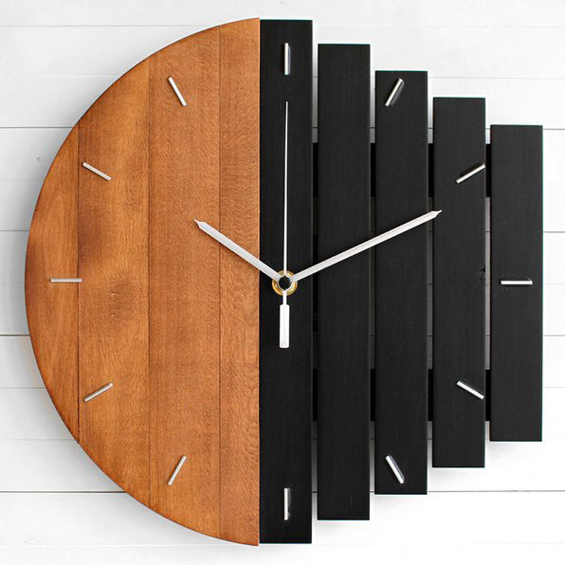 Nordique horloge murale en bois Design moderne créatif Design Unique 3D horloges Loft Design Unique tenture murale montre bois décor à la maison