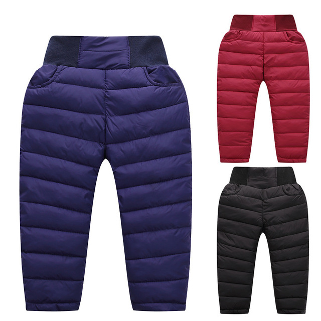Children Down Pants Baby Boys Winter Trousers Girls Warm Clothes Korean Thick Long Pants High Waist Windproof Pants 4-8 Years