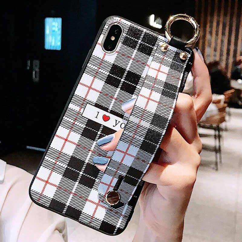 Wrist Strap Case Soft TPU Grid Pattern Phone Case For iPhone 6 6S 7 8 Plus Lattice Holder Stand Case For iPhone X XS MAX XRCover
