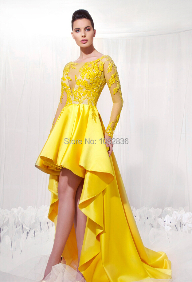 Aliexpress.com : Buy Latest Style Lemon Yellow Party Dress Sheer ...
