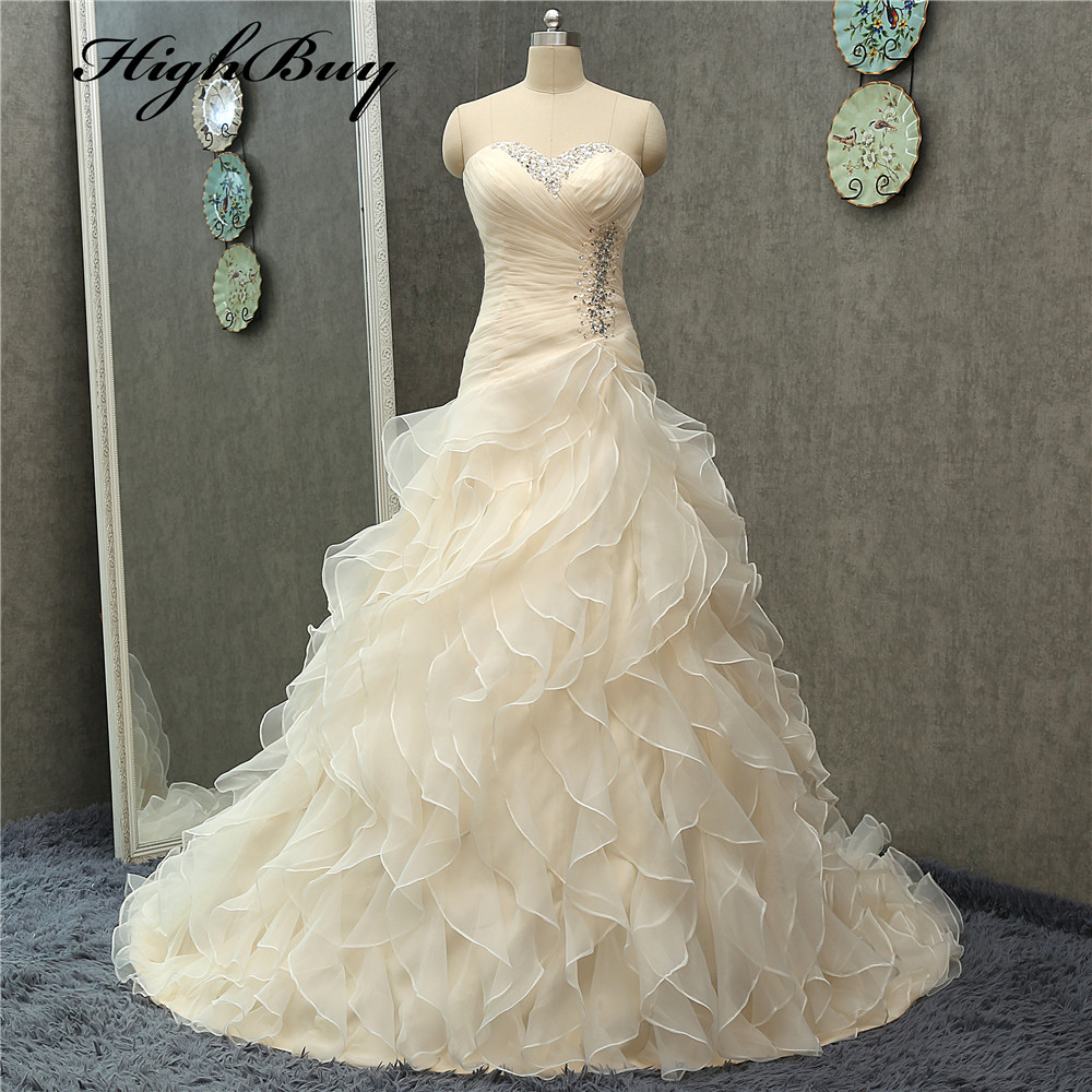 Highbuy strapless a line champagne wedding dresses bridal for Plus size champagne colored wedding dresses