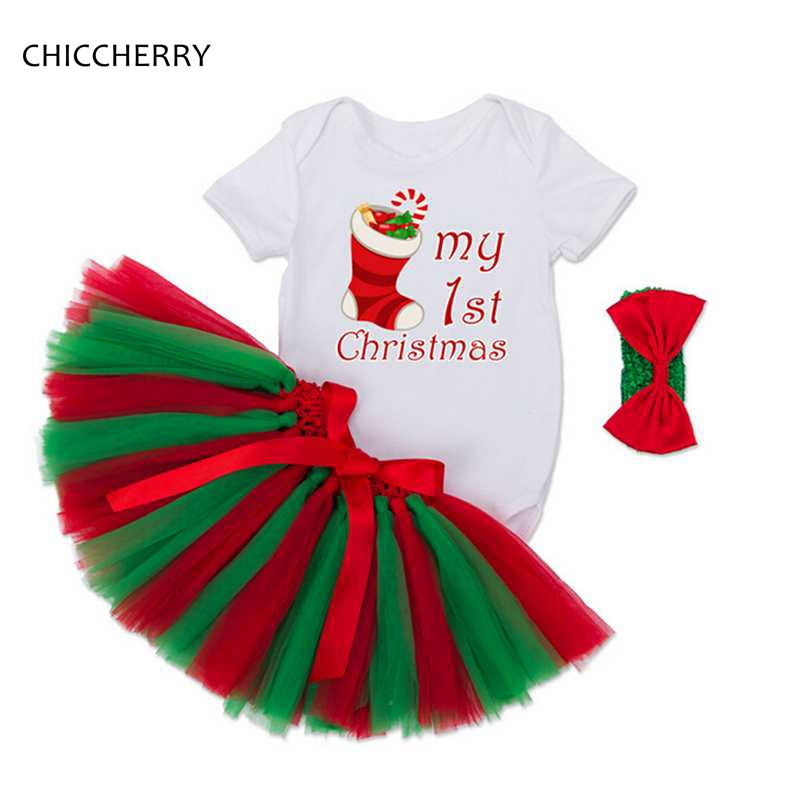 My First Christmas Baby Girl Clothes Sock Infant Baby Bodysuit Headband Lace Tutu Skirt Set Ensemble Bebe Fille Newborn Clothes
