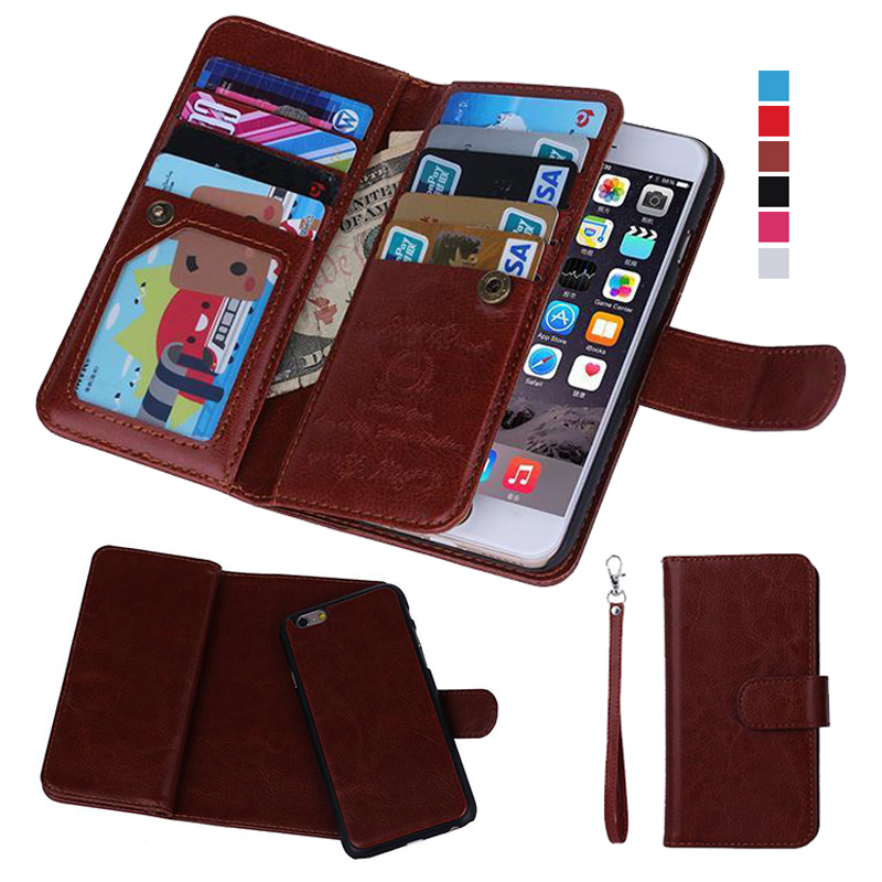 IPhone 6 Case կաշվե մագնիսական անջատվող 9 քարտի համար Slots Flip Wallet Case for iPhone 11 PRO MAX Case X XR 6 Plus 7 Plus Case