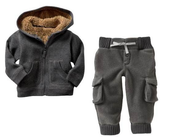 winter hot sale New children's thick suits for winter coat+trousers suits baby wear warmly fur inside