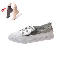 Flat leather ladies white shoes wild fashion women's casual shoes spring and summer new Korean version of comfortable flat shoes