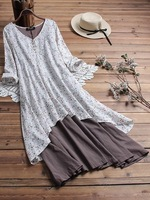 4XL 5XL Patchwork maxi dress plus size casual cotton linen dress floral bohemian dresses long summer dress big size women dress