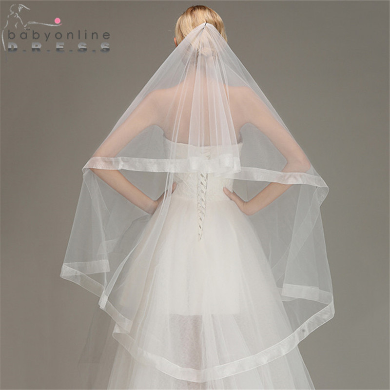 Wedding Veil Short Fingertip Voile Comb Ribbon-Edge Mariage Tulle Soft One-Layer Without