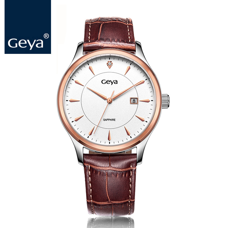 Geya Brand Watches Men Fashion Black Quartz Sapphire Water Resist Leather Strap Watch Luxury Role Timepiece Big Dial Male Watch