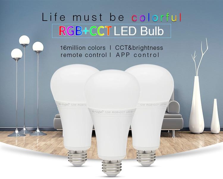 AC86~265V LED Bulb Light Mi Light 12W RGB+CCT LED Bulb FUT015 Intelligent lighting Home Furnishing For Smartphone Remote Control keyshare dual bulb night vision led light kit for remote control drones