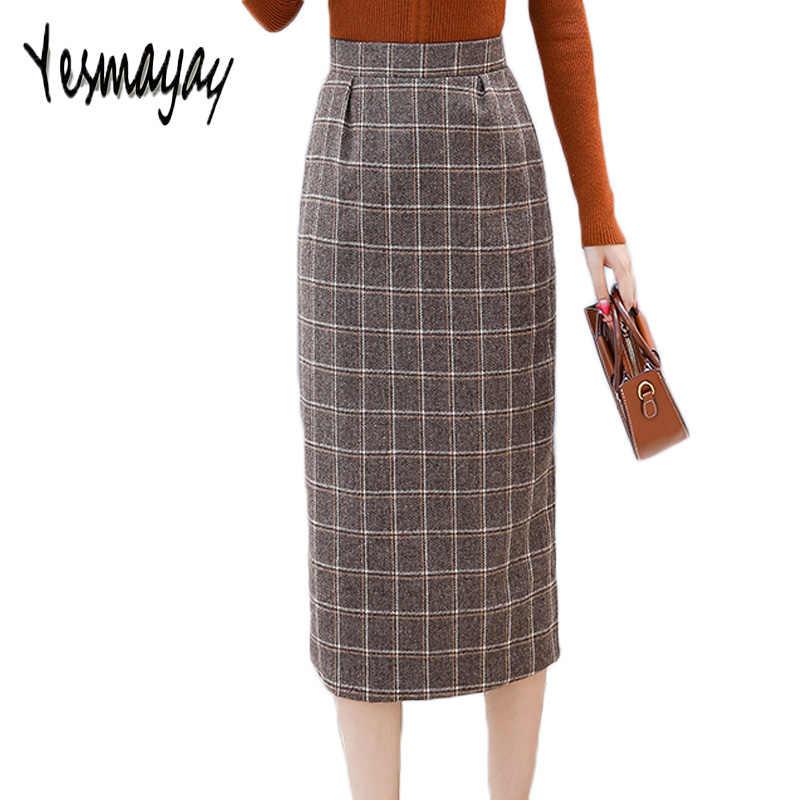 0a3c0e7c2f Korean Fashion Skirt School Women Plaid Long Maxi Pencil Skirt High Waist  Elegant Wool Warm Autumn
