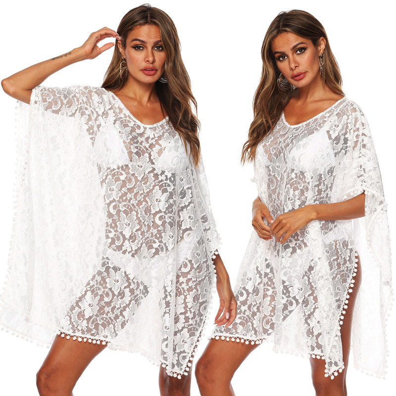 Women's Beach Outings 2019 Robe Plage Cover Up Plus Size Sexy Dress Women Loose Irregular Lace White Ball Patchwork Spandex