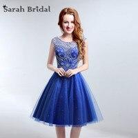 Элегантный вырез сзади Homecoming платья королевский синий бисером Платья для выпускного с Роскошный Кристалл LX189