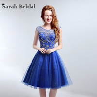 Elegant Cut Out Back Homecoming Dresses Royal Blue Beaded Graduation Dresses With Luxury Crystal LX189