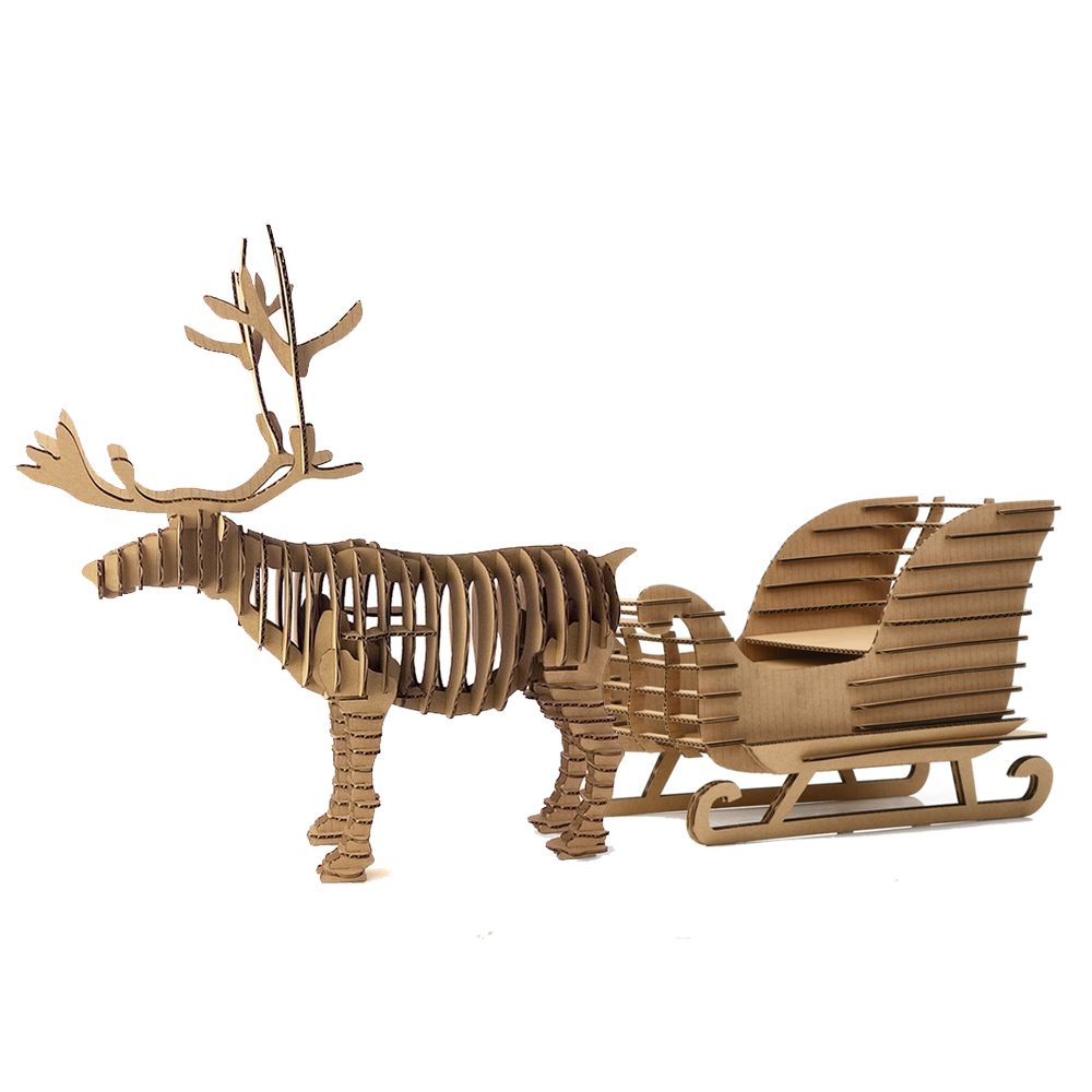 Christmas Decoration Reindeer Sled Toys for Children DIY 3D Puzzle Deer Sleigh Model Sno ...