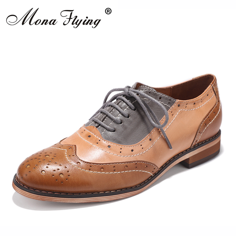 Women Flats Oxfords Shoes 2017 New Brogue Genuine Leather Shoes Women Lace-up Casual Brogue Shoes for Women Handmade Shoes 2017 new handmade women flats genuine leather oxfords shoes woman fashion ballets flats casual moccasins for women sapatos mujer
