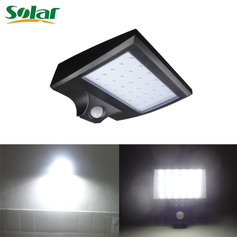 motion sensor solar lamp 30 led super bright security lighting outdoor garden wall light with black