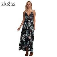 Zkess 2017 Women Summer Beach Boho Maxi Dress Floral Chiffon Spaghetti Straps Long Dresses Feminine Sundress