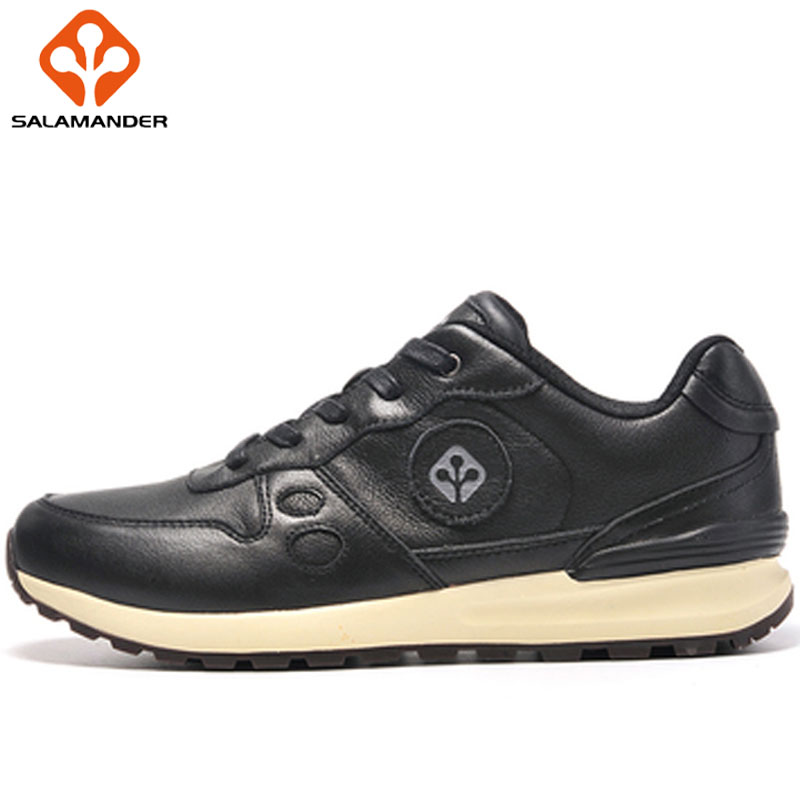 SALAMANDER Genuine Leather Breathable Men Sneakers Massage Lace Up Wear Resisting Women Running Shoes Ladies Outdoor Sport Shoes