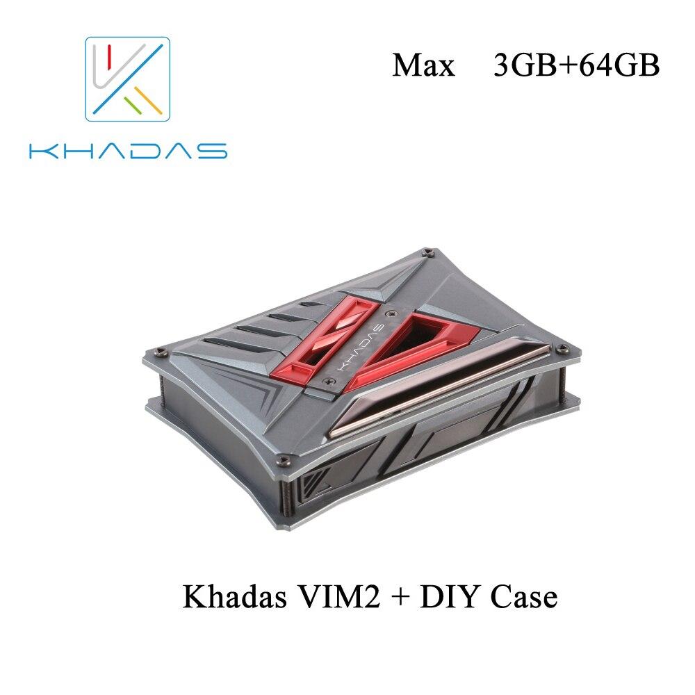 Khadas VIM2 Max Ordinateur de Bord Unique avec Linux Ubuntu Compagnon 16.04 Soutien DDR4 3 gb mem 64 gb + DIY cas