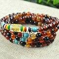 Nova moda 6 mm sonho ágata tibetano budista 108 Prayer Beads colar cabaça de oração mala pulseira para meditação