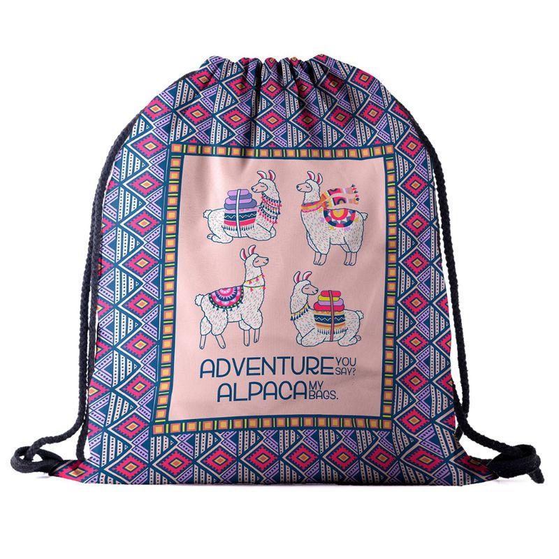 Alpaca Cute Cartoon Drawstring Backpack for School Organizer Travel Shopping