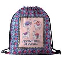 Alpaca Cute Cartoon Drawstring Backpack for School Organizer Travel Shopping